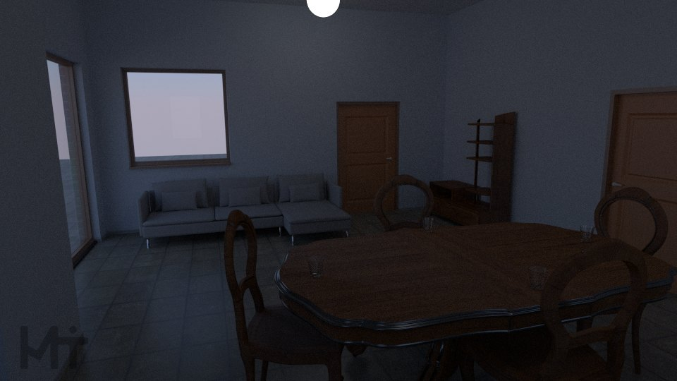 And a first go at a cycles render. Nothing outside yet. Maybe I'll open the doors and get some stuff in the kitchen behind it as well.